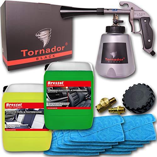 Brestol Tornador Black Z-020S gebrauchsfertiges UNIVERSALREINIGUNGSSET 2X 5 Liter Kunststoffreiniger Lederreiniger Textilreiniger Polsterreiniger + 10x Mikrofasertuch Universaltuch