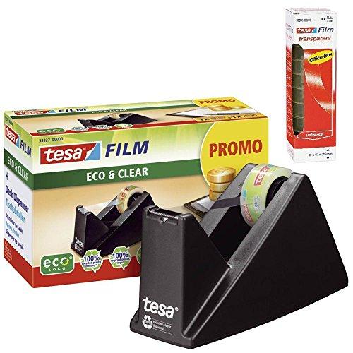 tesa Easy Cut® Tischabroller Economy ecoLogo®, inkl. 1 Rolle tesafilm® / Spar-Set (Abroller + 10 Rollen extra)