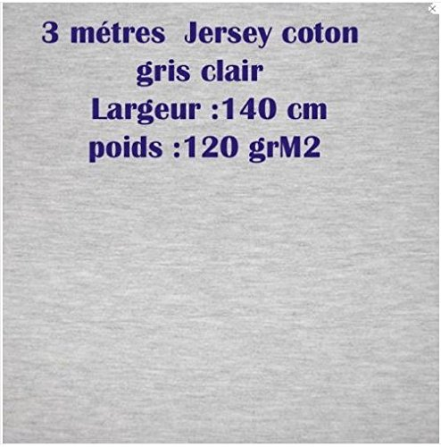 3m JERSEY Baumwolle hellgrau matt Breite 140cm Gewicht 120GRM2 (Floral Rock Ziemlich)