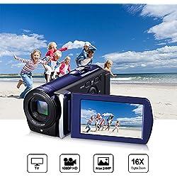 Caméscope Numérique Full HD Caméra Mini DV Classique 1080P 3.0 Pouces TFT-LCD 16x Zoom Caméra Vidéo Appareil Photo Numerique Écran Tactile CMOS Capteur Face Capture (Supports 270°Rotation) Bleu