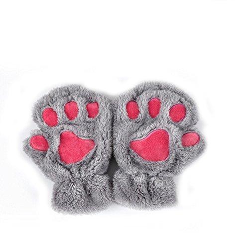 XY Fancy Damen Mädchen süße Katze Kralle Bärenkralle fingerlose Handschuhe Winter Halbfingerhandschuhe, Grau (Katze Handschuhe)
