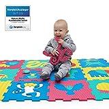 Der VERGLEICHSSIEGER 2018* Puzzlematte für Babys und Kinder | 12 Schaumstoffplatten mit Tieren in einer Aufbewahrungstasche | +20% dickere, weichere Spielmatte | Schadstofffrei, TÜV Formamid geprüft