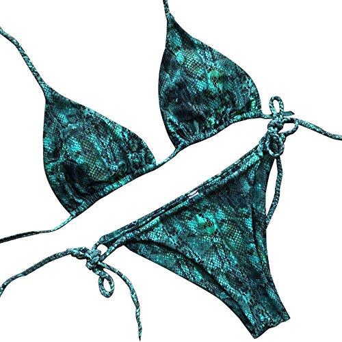 Amcool Damen Bikini Set Snake Print Zweiteiler Bademode Triangle Push-Up Strap Bikini Bottom Zurück Sport Stripe Beachwear Beachwear Zweiteilige verdickte Beachwear -