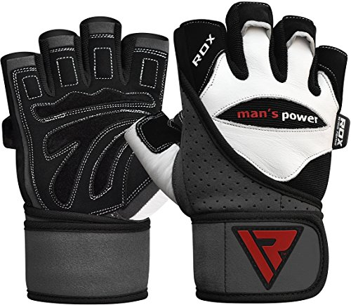 RDX Rindsleder Fitness Handschuhe Gewichtheben Sport Trainingshandschuhe Gym Workout Bodybuilding,Weiß, S -