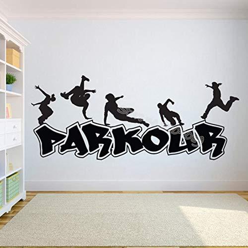 xinyouzhihi Extreme Sport Parkour Haltung Silhouette Wandaufkleber Dekor Wohnzimmer Vinyl Removable Murals für Jugend Schlafzimmer Decals 98x42cm