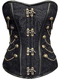 r-dessous Vintage Corsage schwarze Korsett Shirt Bustier Korsage Top Steampunk Corsagentop Gothic Rockabilly