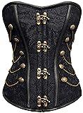 r-dessous Vintage Corsage schwarze Korsett Shirt Bustier Korsage Top Steampunk Corsagentop Gothic Rockabilly Groesse: S