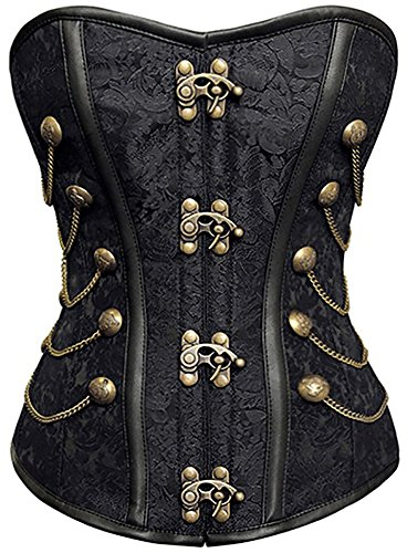 loveorama.de r-dessous Vintage Corsage schwarze Korsett Shirt Bustier Korsage Top Steampunk Corsagentop Gothic Rockabilly Groesse: S
