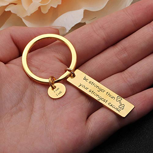 DCFVGB Stärker Ihre Stärkste Ausrede, Die Ich Kann, Werde Ich Keychain Motivierende Ermutigung Key Fobs Inspirational Charm Jewelry -