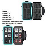 JJC Speicherkarten Tasche Wasserdicht Schutzhülle für 16 x Micro SD-Karten TF Karten und 10 x SDXC SDHC SD-karten mit USB 3.0 Kartenlesegerät von JJC