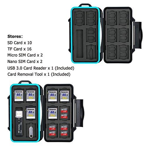Speicherkarten Tasche Wasserdicht Schutzhülle für 16 x Micro SD-Karten TF Karten und 10 x SDXC SDHC SD-karten mit USB 3.0 Kartenlesegerät von JJC