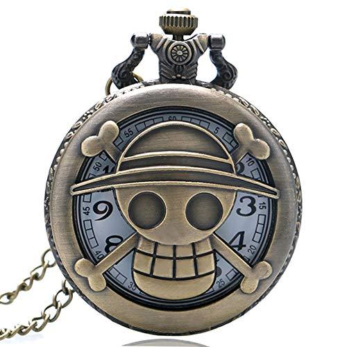 Neue Ankunfts-Taschenuhr, Mode-Bronzen-Art-einteilige Schädel-Taschen-Uhren für Männer, Taschenuhr-Geschenk