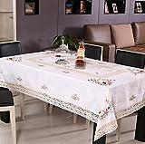 Nappes Main Brodé Rectangle White Rural Classique Coton Tissu Nappe de table basse Rectangle Polyvalent Serviette de couverture Cuisine et salle à manger Linge de table , 145*215cm