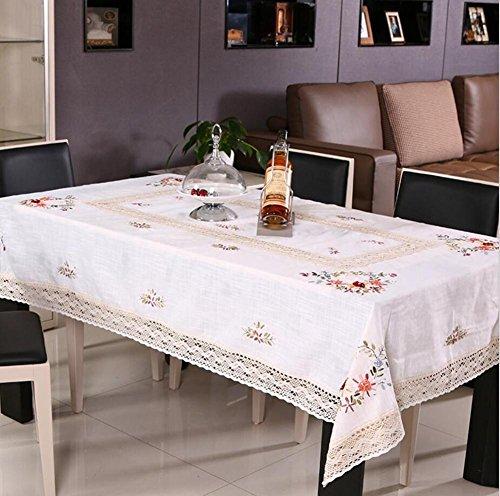 Tischdecken Handgefertigt Gestickt Rechteck White Ländlich Klassisch Baumwolle Tuch Couchtisch Tuch Rechteck Mehrzweck Handtuch abdecken Küche und Speisen Tischwäsche , 60*60 cm (Küche Handtücher Kräuter)