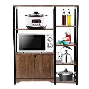 Cocoarm Küchenschrank 4 Schicht Lagerregal Mikrowellenhalter Küchenregal Multifunktionale Standregal Küche Regal mit 2 Türen, 90 x 111.3 x 35cm