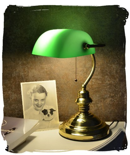 BANKERS LAMP KLASSIKER IM JUGENDSTIL SCHREIBTISCHLAMPE VINTAGE GRUEN PALAZZO EXCLUSIV