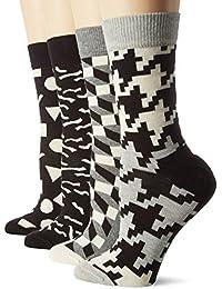 Mesdames Hommes et 4 paires Happy Socks Leopard Stripe et Big Dots coton peigné Chaussettes