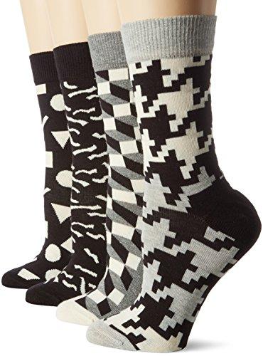 Happy Socks Damen Socken Black White Gift Box, 4er Pack, Mehrfarbig (Grau 9001), One Size (Herstellergröße: 36-40)
