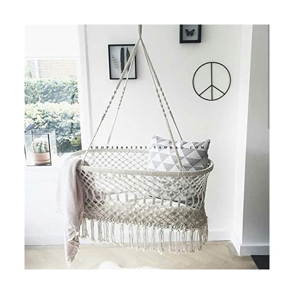 """OLDFAI Baby Crib Cradle Bassinet, Hanging Hammoc Swing Mobile Breathable for Boys Girls Infant, Washable Weaved Crib, 35"""" L X 23.25"""" W X 14"""" H Beige OLDFAI [BABY CRADLE BASSINET]Adorable hanging cradle soothes infants with a safe and comfortable place to sleep - Perfect addition to baby nursery or bedroom [SOOTHING & COMFORTABLE]Lulls baby to sleep with gentle rocking movement like a hanging baby hammock - Parents can rock cradle or let baby's movements gently move the baby swing crib - Gives new parents relaxation and peace of mind [INDOOR/OUTDOOR]Place the baby hammock bed cradle anywhere with sturdy suspension - Baby Nursery, living room, bedroom, basement, spare room, sunroom, patio, backyard, and more - Suspend beside your bed indoors or place the baby portable swing outdoors for a relaxing scenery - Practical alternative for those seeking more options than traditional crib 2"""