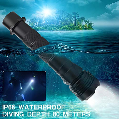 Portable IP68 Lampe de Poche LED étanche 3 Type de Bouton de Mode de fichier Zoom Super luminosité 3000 Lumens Plongée sous-Marine 80M Lampe de Poche Convient pour l'extérieur