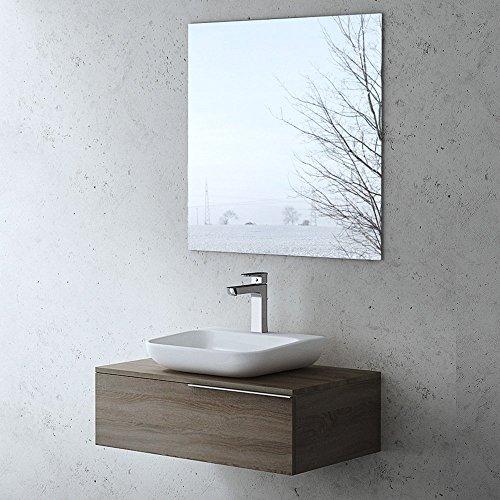 Meuble de salle de bains ensemble de 2-pièces, meuble sous vasque et vasque Ravello800N noyer foncé