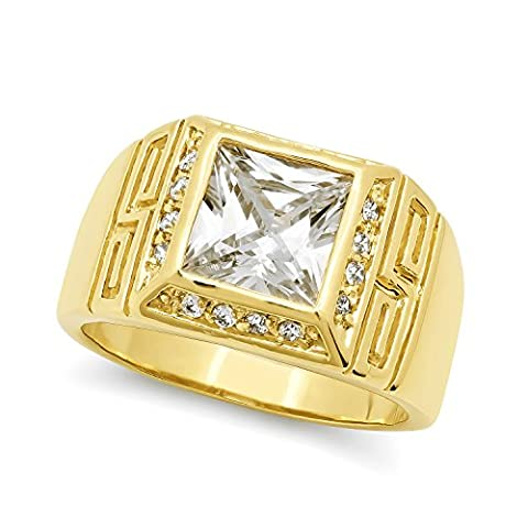 Men's Classic Square 14mm Wide Cut CZ Accent 14k Yellow Gold Plated Pinky Ring - Size P 1/2.5 + Bonus Polishing Cloth