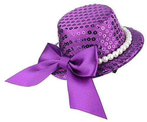 GEMVIE Damen Mädchen Mini Hut Haarschmuck Hut für Fasching Party Lila (Kostüme Tanzabend Kinder)