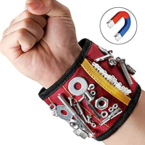 Magnetisches Armband Magnetarmband Werkzeug | mit 10 Magnet Stark Zugkraft | Leicht Angenehm Tragen | für Nägel Schrauber Bohrer Magnetische Pickup-Kit Handgelenk Band