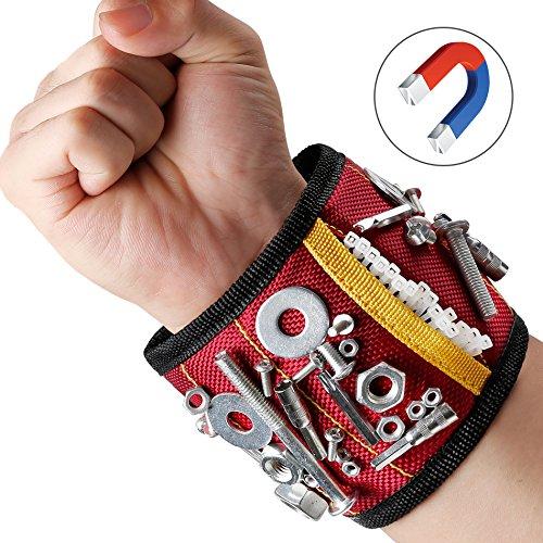 Magnetisches Armband Magnetarmband Werkzeug   mit 10 Magnet Stark Zugkraft   Leicht Angenehm Tragen   für Nägel Schrauber Bohrer Magnetische Pickup-Kit Handgelenk (Modeschmuck Tragen Das Von)