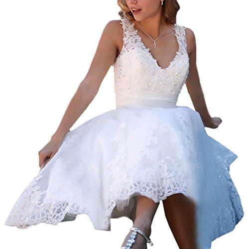 Carnivalprom Damen Strand Hochzeitskleid Spitze Elegant V-Ausschnitt Brautkleid Perlstickerei Ballkleid Brautkleider Weiß