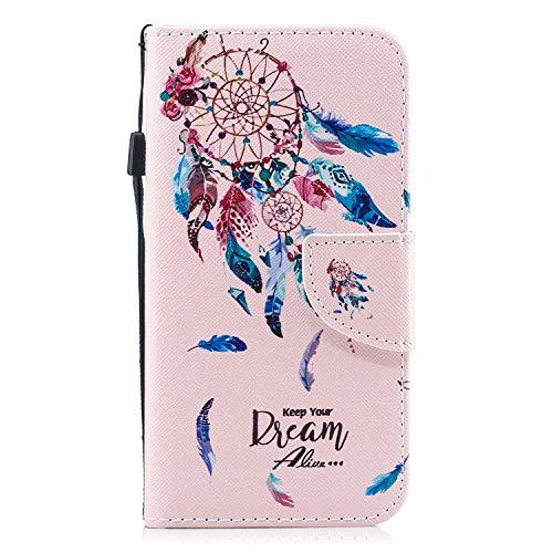 Carols Coque Samsung Galaxy J3 2017 (SM-J330), Samsung Galaxy J3 2017 (SM-J330) Coque Dragonne Portefeuille PU Etui TPU Bumper Case - Capteur de rêves