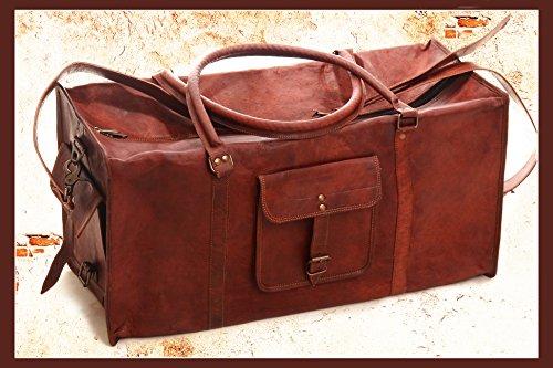 True Grit Leather-Borsone da viaggio in pelle, Borsa trolley 24 cm