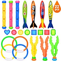 Victostar Diving Toys Set Of 22 Pcs, Swimming Diving Pool Training Toys for Kids, Torpedo Bandits Toy Rings Diving Gemstones Diving Ball Streamers Diving Sticks Underwater Games