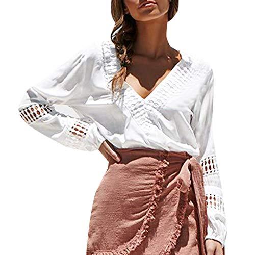 routinfly Damen Freizeitoberteil,Einfarbiges T-Shirt mit V-Ausschnitt Laternenärmel oben Sexy blusen langarm casual aushöhlen shirts tops Hohle einfarbige Oberseite -