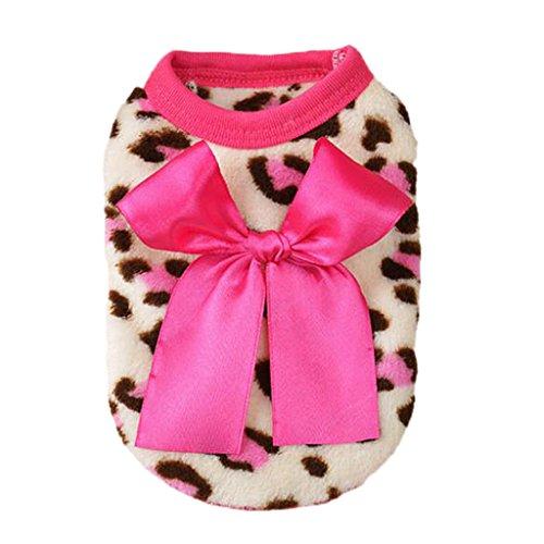 MagiDeal Leopard Design Hundekleidung Kleidung Weste Kostüm mit Schleife für Hunde Kazte Haustier , Farben und Größe Auswahl - Rosa, 6 #