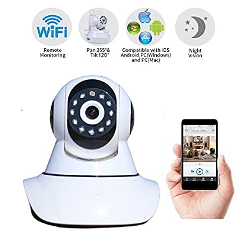 Erkona Wireless Security Camera IP , HD WiFi Cam Surveillance System Video Recording Sonic Recognition P2P Pan Tilt Remote Motion Detect Alert With Two-Way