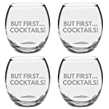 Argon Tableware Engraved Drinking Tumbler Glasses - But First Cocktails - 405ml - Pack of 4