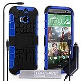 Yousave Accessories-Custodia in Gel Silicone, per HTC One M8 (2014), Colore: Blu/Nero-Cover Rigida con Supporto per Ricarica con Cavo Micro USB e Caricabatterie da Auto