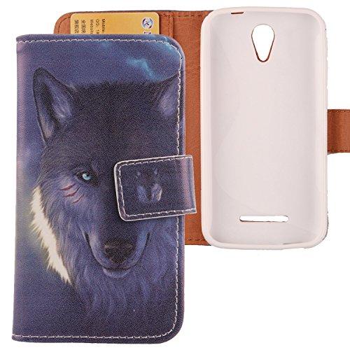 Lankashi Flip Leder Tasche Hülle Case Cover Handytasche Schutzhülle Etui Skin Für Vodafone Smart 4 Power Wolf Design