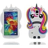 Samsung Galaxy S5 Hülle, 3D Cartoon Einhorn Cover Samsung Galaxy S5 Handyhülle, TPU Material stilvoll dauerhaft, Staub Rutsch kratzfest- unicorn