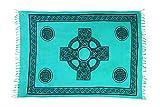 Ciffre Sarong Pareo Wickelrock Strandtuch Tuch Wandbehang Schal Keltisch Kreuz Petrol Türkis + Schnalle