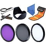 K&F Concept 52mm UV CPL FLD Filtro Polarizzatore Circolare per Kit UV Filtro ND per Nikon D5300 D5200 D5100 D3300 D3200 D3100 DSLR Camera +Stoffa di pulizia per lente +paraluce + Cappuccio di lente+sostenimento di cappuccio