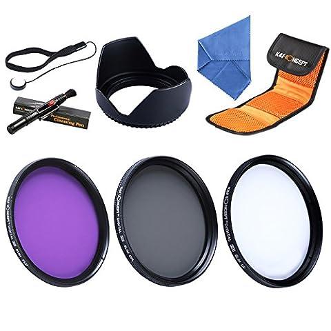 K & F Concept 62 mm UV CPL FLD Kit de filtre d'objectif UV, filtre Polarisant circulaire pour objectif Tamron Sigma Sony Alpha A57 A65 A77 appareils photo reflex numériques + chiffon de nettoyage en microfibre pour objectif + Pare-soleil + Stylo de nettoyage et cordon