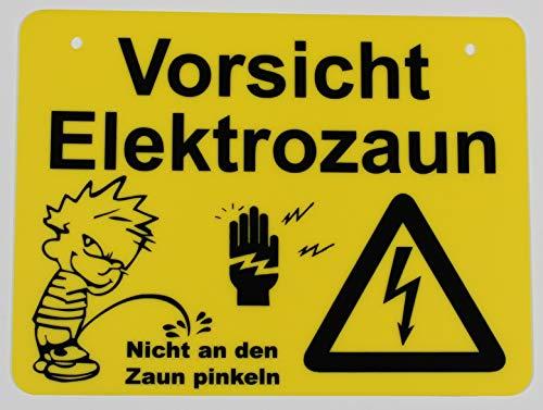 Vorsicht Elektrozaun | Achtung Hochspannung | Vorsicht Lebensgefahr | Hinweisschild (Elektrozaun)