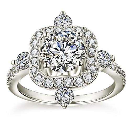 SSLL Damenring Frauen Silber Farbe Hochzeit Ring AAA Zirkon Schmuck Zubehör Größe 5-12,12 (Hochzeit Ringe Größe 11 Frauen)