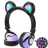 LIMSON Auriculares Plegables para Niños, Luz LED Brillantes Recargable Headphones con Oreja de Oso, Headset para Adolescentes Niñas Niños Adultos LX-R109 (Negro)