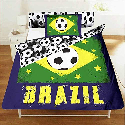 Wendebettwäsche-Set Brasilien, Einzelbettgröße, Bettbezug und Kissenbezug, Polyester-Baumwoll-Mischgewebe -
