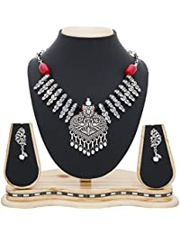 The Luxor Antique Oxidised Silver Plated Peacock Necklace Set For Women NK-2225