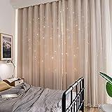 Nordische Stil vorhänge,Moderne träumen Minimalistischen Double Vorhang Voll hohl sterne aussetzzeit Schlafzimmer vorhänge polyester fensterbehandlung fester-Beige 300x210cm(118x83inch)