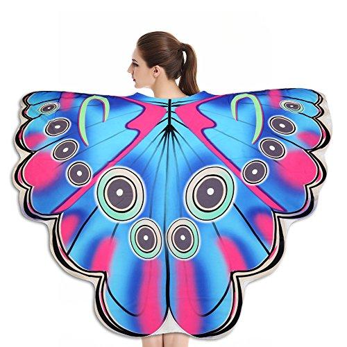 Lazzboy Weicher Stoff Butterfly Wings Schal Fairy Nymph Pixie Kostümzubehör Modelle Sarong Pareo Wickelrock Strandtuch Tuch Wickeltuch Handtuch Gratis Schnalle(B,Ca 180X145CM)